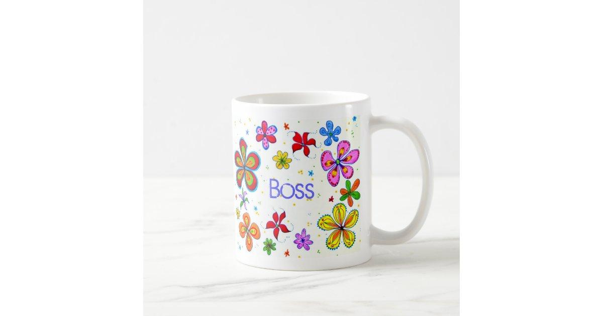 dame boss gro e blumen kaffee tasse kaffeetasse zazzle. Black Bedroom Furniture Sets. Home Design Ideas