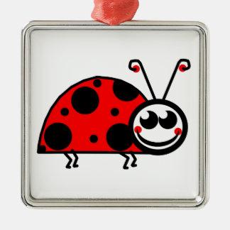 Dame Bug Quadratisches Silberfarbenes Ornament