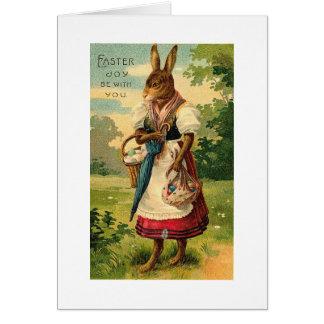 Dame Bunny Brings Ostern Joy Karte