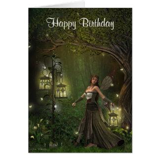 Dame der Laternen-Geburtstags-Karte Karte