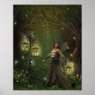 Dame des Laternen-Druckes Poster