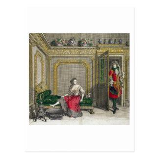 Dame, die für das Bad, erschienenes c.1688-90 sich Postkarte