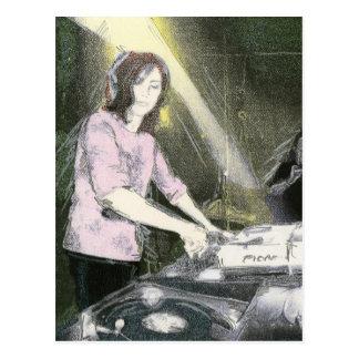 Dame DJ Postkarte
