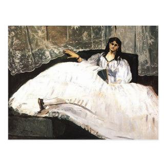 Dame Edouard-Manet- mit einem Fächer Postkarte