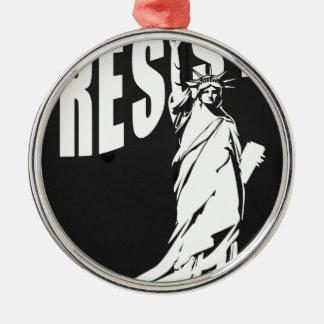 Dame-Freiheit-widerstehen Sie Rundes Silberfarbenes Ornament