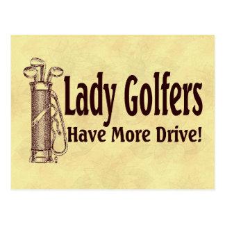 Dame Golfers Postkarte