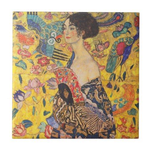 Dame Gustav-Klimt mit Fan-Vintager Keramik-Fliese