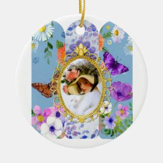 dame im Blau Keramik Ornament