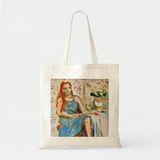 Dame in der blauen Ölmalerei-Papier-Taschentasche Tragetasche