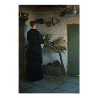 Dame in der Küche Poster