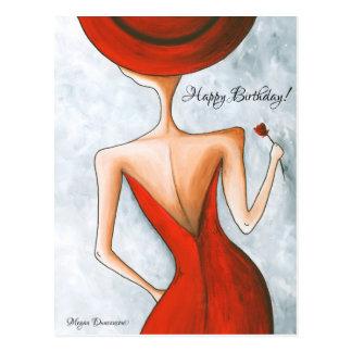 Dame in der roten alles- Gute zum Postkarte