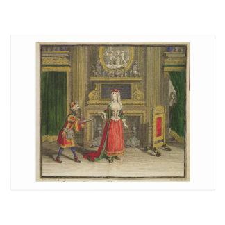 Dame in ihrem Schlafzimmer, erschienenes c.1688-90 Postkarte