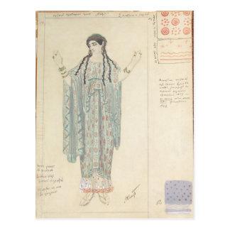 Dame-in-wartete Kostümentwurf für Hippolytus Postkarte