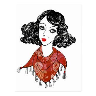 Dame KunstDeko roter Paisley-Schal Postkarte