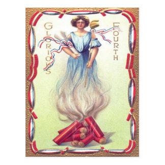 Dame Liberty Fireworks Firecracker Firecrackers Postkarte