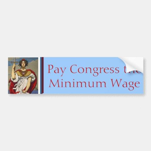 Dame Liberty - Lohn-Kongreß der Mindestlohn Autoaufkleber