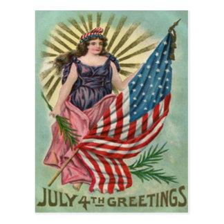 Dame Liberty Stars u. Streifen Vintag Juli 4. Postkarte