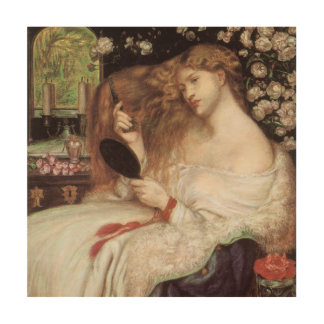 Dame Lilith durch Rossetti, Vintages Holzleinwand