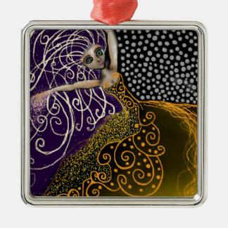 Dame Luck Quadratisches Silberfarbenes Ornament