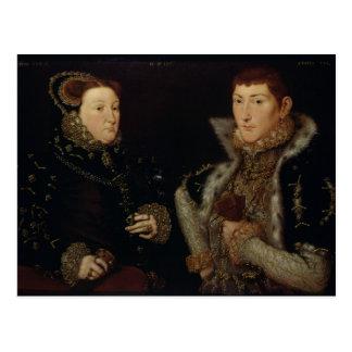 Dame Mary Nevill und ihr Sohn Gregory Fiennes Postkarte