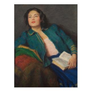 Dame mit Buch Postkarte