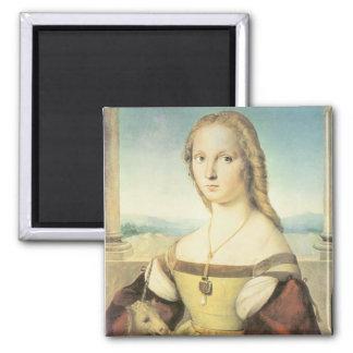 Dame mit einem Einhorn durch RAPHAEL-Magneten Quadratischer Magnet
