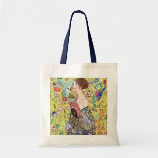 Dame mit Fan durch Gustav Klimt, Vintager Japonism Tasche