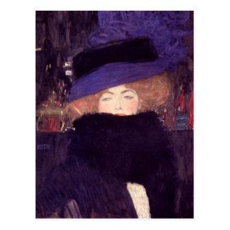 Dame mit Hut und Boa durch Gustav Klimt Postkarte
