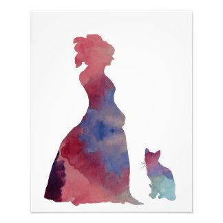 Dame mit Katze Fotodruck