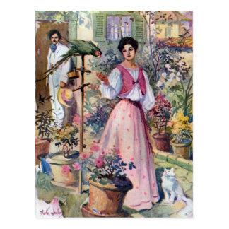 Dame mit Papageien und Katze durch Hazienda Postkarten