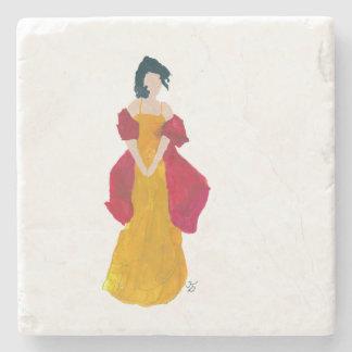 Dame mit rotem Schal-Untersetzer Steinuntersetzer