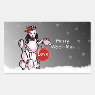 Dame Poodle zeigt Ihre Weihnachtswünsche! Rechteckiger Aufkleber