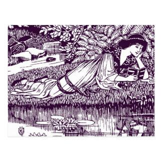 Dame Reading neben einem Teich Postkarte