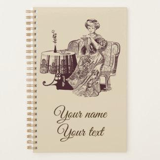Dame trinkt Tee Planer