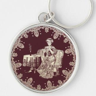 Dame trinkt Tee Schlüsselanhänger