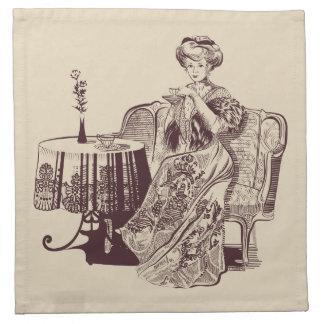 Dame trinkt Tee Serviette