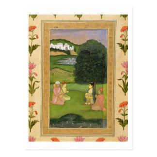 Dame und Begleiter, die Musik an Sonnenuntergang, Postkarte