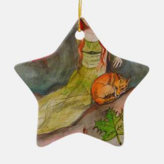 Dame und der Fox Keramik Ornament