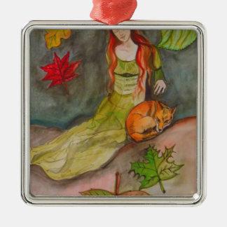 Dame und der Fox Quadratisches Silberfarbenes Ornament