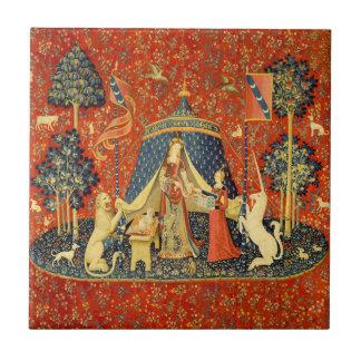 Dame und die Einhorn-mittelalterliche Kleine Quadratische Fliese