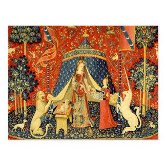 Dame und die Einhorn-mittelalterliche Postkarte