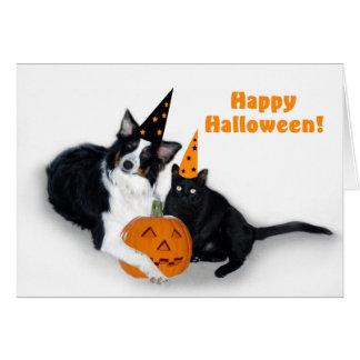 Dame und gespenstisches glückliches Halloween Karte