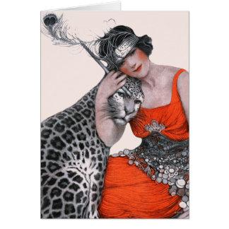 Dame und Leopard Grußkarte