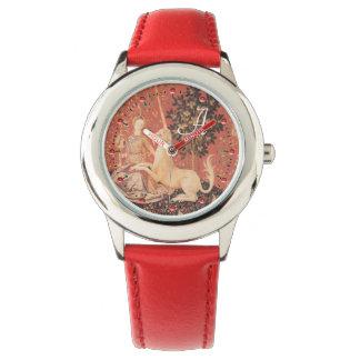 DAME UND UNICORN Fantasie-Blumen, Tier-Monogramm Armbanduhr