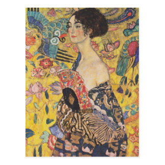 Dame With Fan Postcard Gustav-Klimt Postkarte