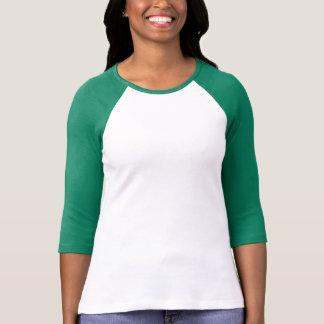 Damen 3/4 HülseRaglan (angepasst), Weiß/Schwarzes T-Shirt