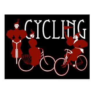Damen auf Fahrrädern Postkarte