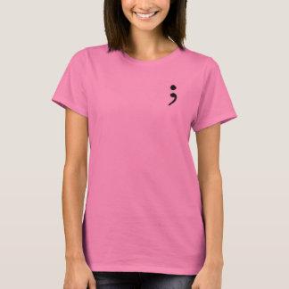 Damen-kurzer Hülsen-Semikolon-T - Shirt