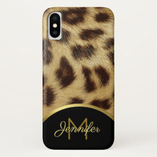 Damen-Leopard-Haut-Imitat-Pelz-MonogrammCasemate iPhone X Hülle