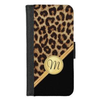 Damen-Leopard-Haut mit Monogramm Bling iPhone 8/7 Geldbeutel-Hülle